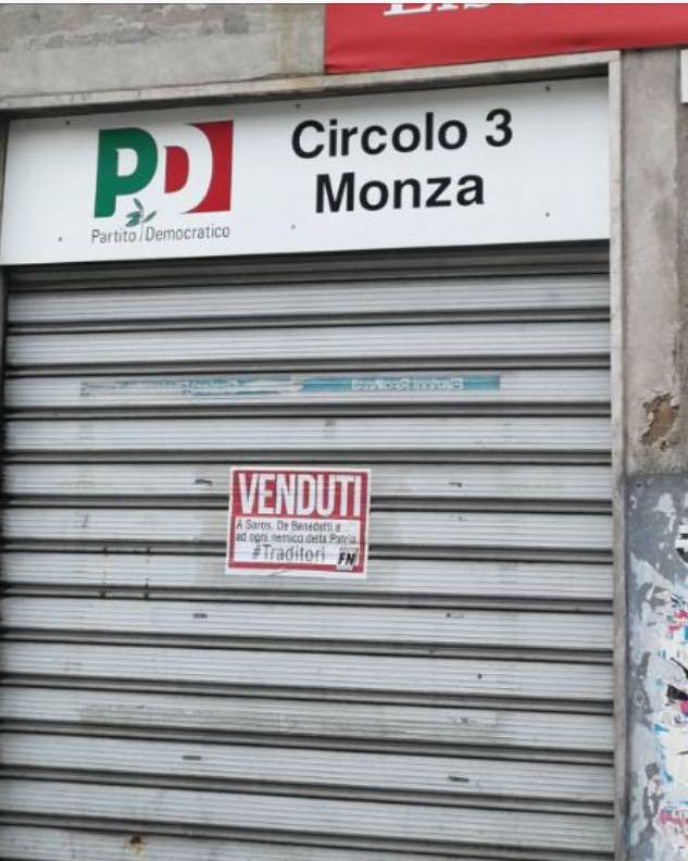 monza atto vandalico pd